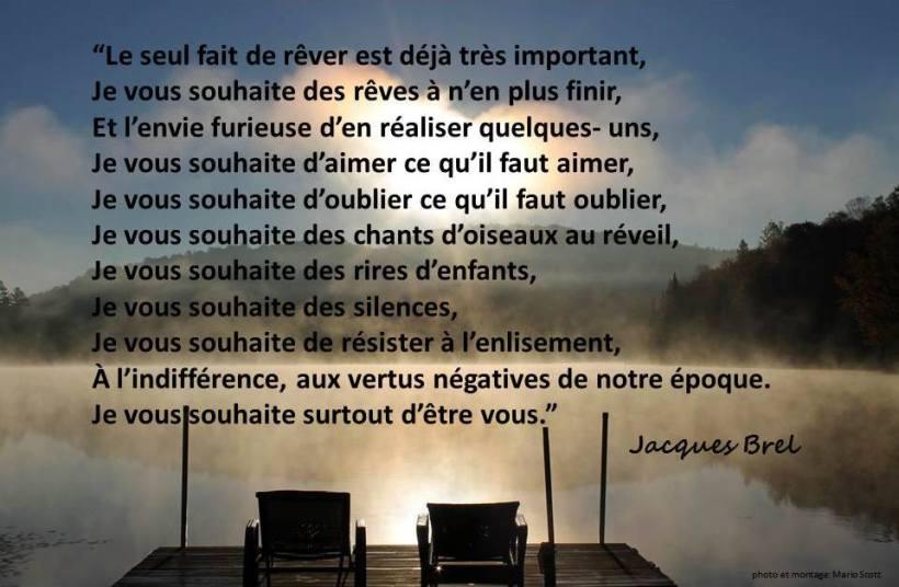 Texte de Jacques Brel sur ma photo